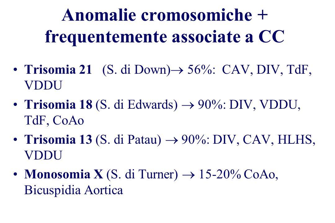 Trisomia 21 (S. di Down) 56%: CAV, DIV, TdF, VDDU Trisomia 18 (S. di Edwards) 90%: DIV, VDDU, TdF, CoAo Trisomia 13 (S. di Patau) 90%: DIV, CAV, HLHS,