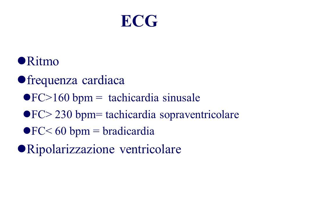 Ritmo frequenza cardiaca FC>160 bpm = tachicardia sinusale FC> 230 bpm= tachicardia sopraventricolare FC< 60 bpm = bradicardia Ripolarizzazione ventri