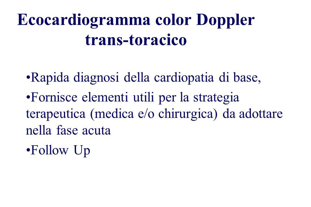 Ecocardiogramma color Doppler trans-toracico Rapida diagnosi della cardiopatia di base, Fornisce elementi utili per la strategia terapeutica (medica e
