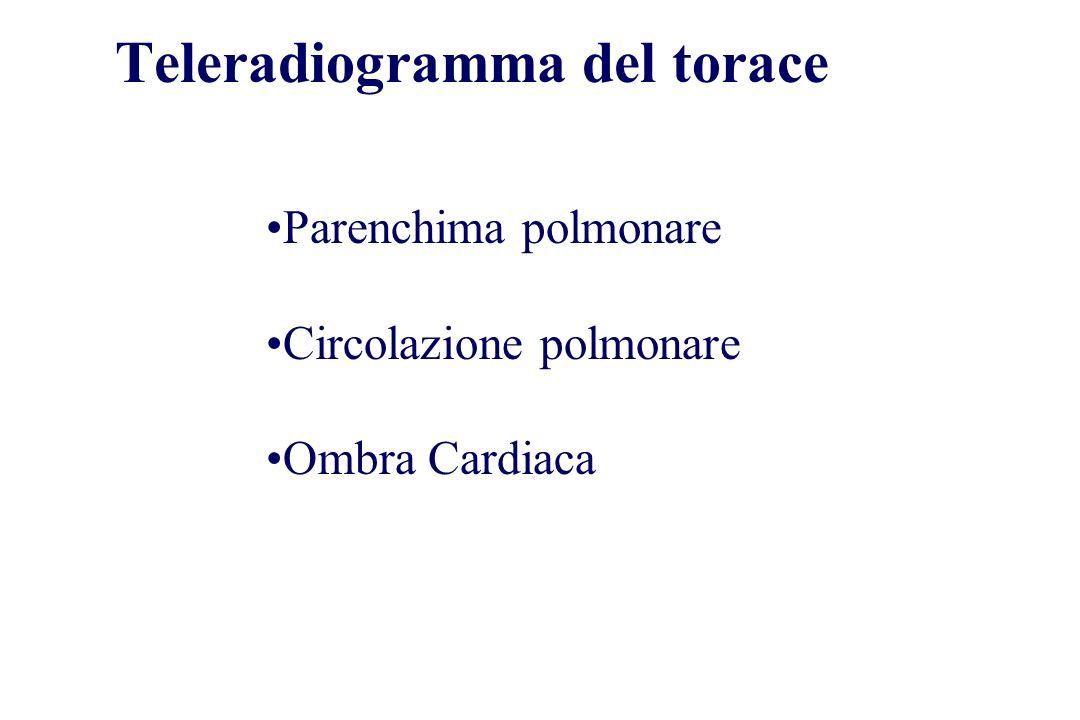 Teleradiogramma del torace Parenchima polmonare Circolazione polmonare Ombra Cardiaca