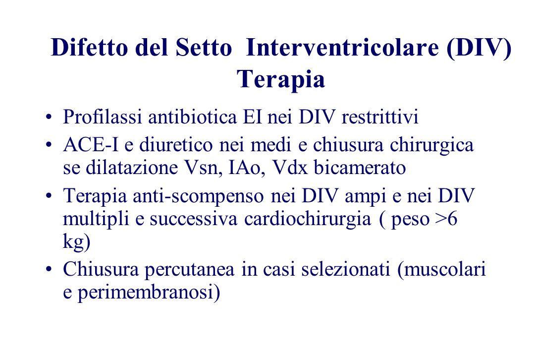 Difetto del Setto Interventricolare (DIV) Terapia Profilassi antibiotica EI nei DIV restrittivi ACE-I e diuretico nei medi e chiusura chirurgica se di