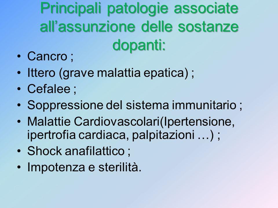 Principali patologie associate allassunzione delle sostanze dopanti: Cancro ; Ittero (grave malattia epatica) ; Cefalee ; Soppressione del sistema imm