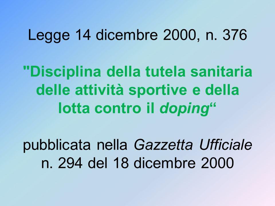 Legge 14 dicembre 2000, n. 376