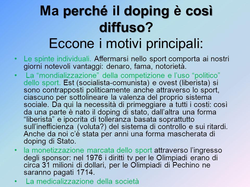 perchédopingcosì diffuso Ma perché il doping è così diffuso? Eccone i motivi principali: Le spinte individuali. Affermarsi nello sport comporta ai nos