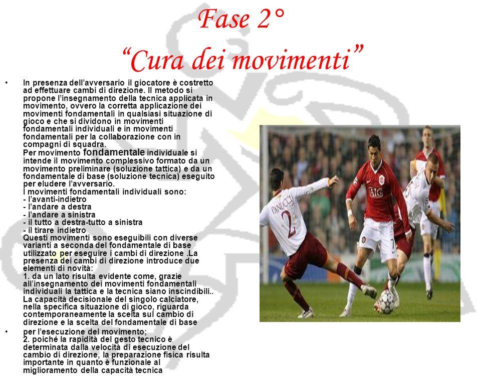 Fase 2° Cura dei movimenti In presenza dellavversario il giocatore è costretto ad effettuare cambi di direzione. Il metodo si propone linsegnamento de