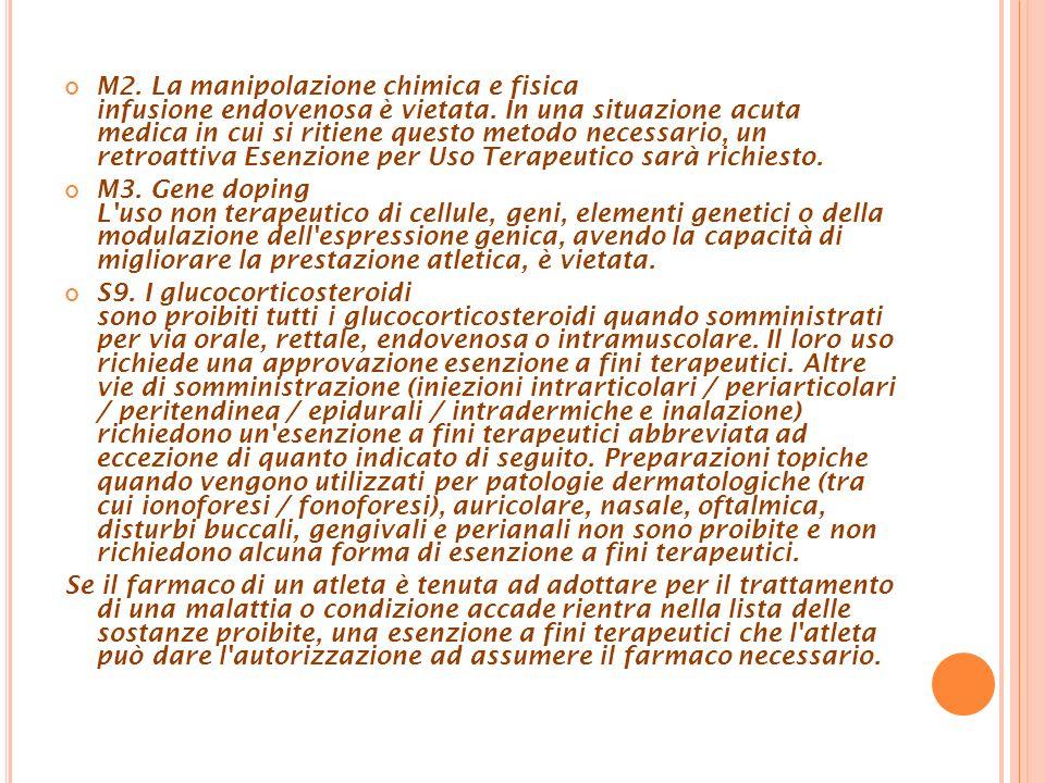 M2. La manipolazione chimica e fisica infusione endovenosa è vietata. In una situazione acuta medica in cui si ritiene questo metodo necessario, un re