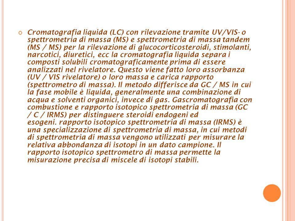 Cromatografia liquida (LC) con rilevazione tramite UV/VIS- o spettrometria di massa (MS) e spettrometria di massa tandem (MS / MS) per la rilevazione