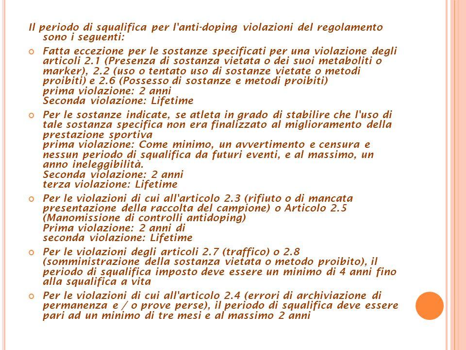 Il periodo di squalifica per l'anti-doping violazioni del regolamento sono i seguenti: Fatta eccezione per le sostanze specificati per una violazione