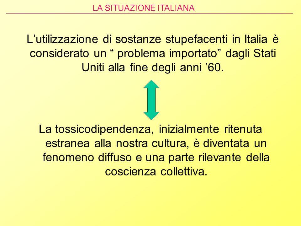 Lutilizzazione di sostanze stupefacenti in Italia è considerato un problema importato dagli Stati Uniti alla fine degli anni 60. La tossicodipendenza,