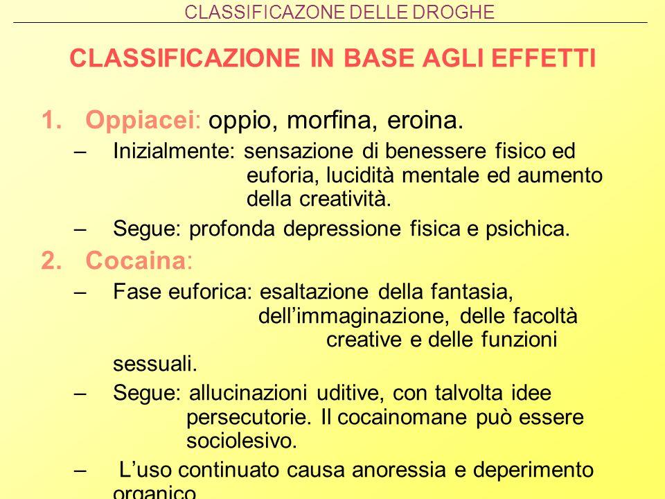 CLASSIFICAZIONE IN BASE AGLI EFFETTI 1.Oppiacei: oppio, morfina, eroina. –Inizialmente: sensazione di benessere fisico ed euforia, lucidità mentale ed