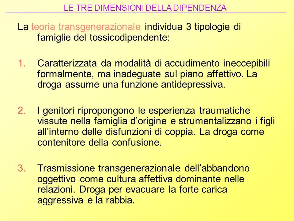 La teoria transgenerazionale individua 3 tipologie di famiglie del tossicodipendente: 1.Caratterizzata da modalità di accudimento ineccepibili formalm
