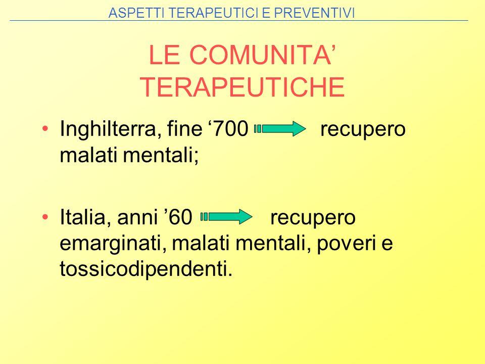 LE COMUNITA TERAPEUTICHE Inghilterra, fine 700 recupero malati mentali; Italia, anni 60 recupero emarginati, malati mentali, poveri e tossicodipendent