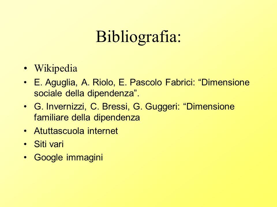 Bibliografia: Wikipedia E. Aguglia, A. Riolo, E. Pascolo Fabrici: Dimensione sociale della dipendenza. G. Invernizzi, C. Bressi, G. Guggeri: Dimension