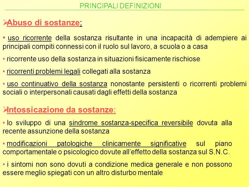 Abuso di sostanze: uso ricorrente della sostanza risultante in una incapacità di adempiere ai principali compiti connessi con il ruolo sul lavoro, a s