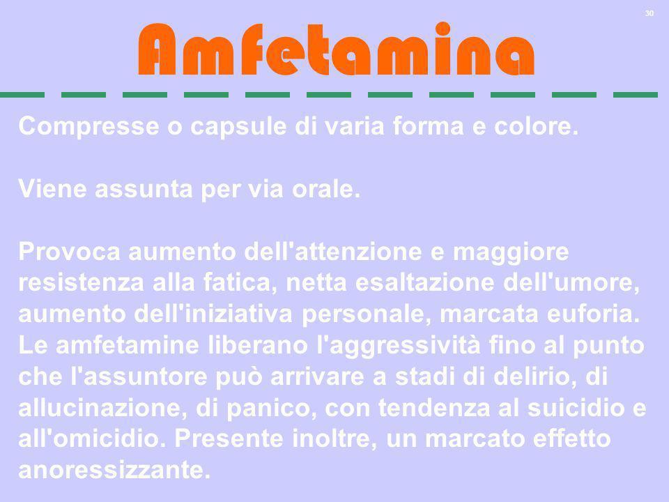 30 Amfetamina Compresse o capsule di varia forma e colore. Viene assunta per via orale. Provoca aumento dell'attenzione e maggiore resistenza alla fat