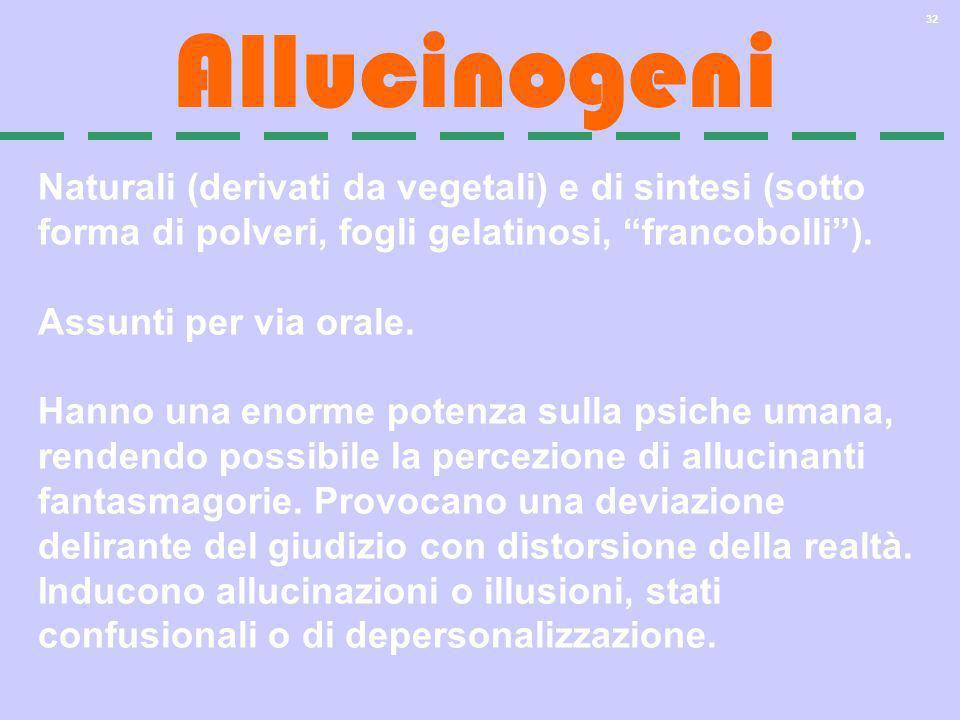 32 Allucinogeni Naturali (derivati da vegetali) e di sintesi (sotto forma di polveri, fogli gelatinosi, francobolli). Assunti per via orale. Hanno una