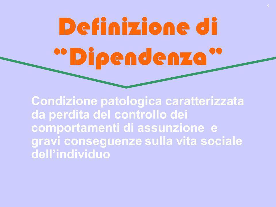 4 Definizione di Dipendenza Condizione patologica caratterizzata da perdita del controllo dei comportamenti di assunzione e gravi conseguenze sulla vi