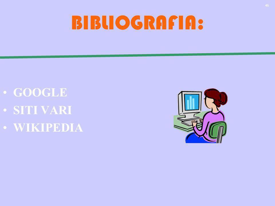 45 BIBLIOGRAFIA: GOOGLE SITI VARI WIKIPEDIA