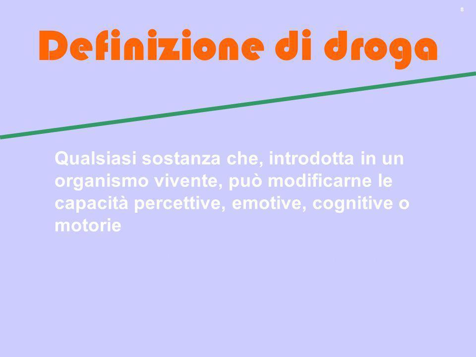 8 Definizione di droga Qualsiasi sostanza che, introdotta in un organismo vivente, può modificarne le capacità percettive, emotive, cognitive o motori
