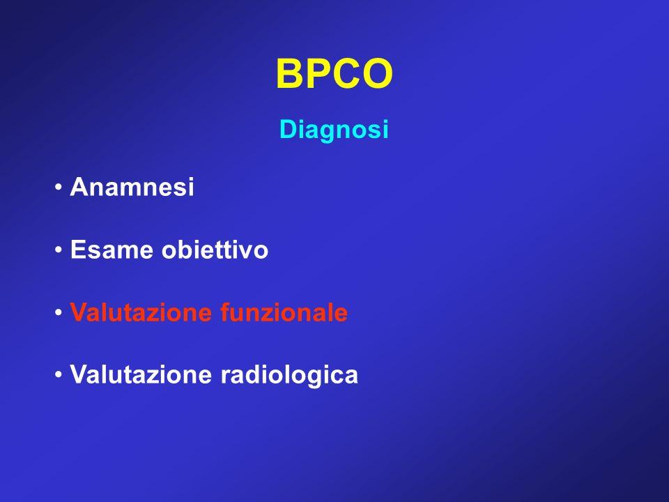 BPCO Diagnosi Anamnesi Esame obiettivo Valutazione funzionale Valutazione radiologica