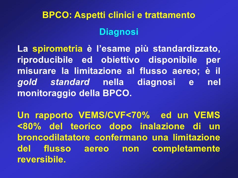 BPCO: Aspetti clinici e trattamento Diagnosi La spirometria è lesame più standardizzato, riproducibile ed obiettivo disponibile per misurare la limita