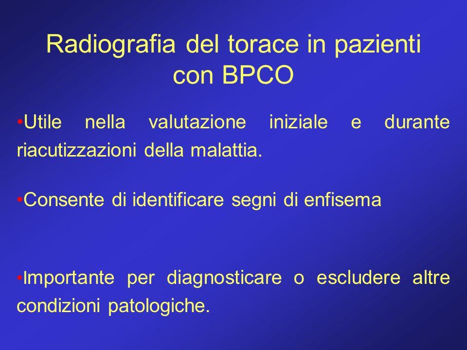 Radiografia del torace in pazienti con BPCO Utile nella valutazione iniziale e durante riacutizzazioni della malattia. Consente di identificare segni