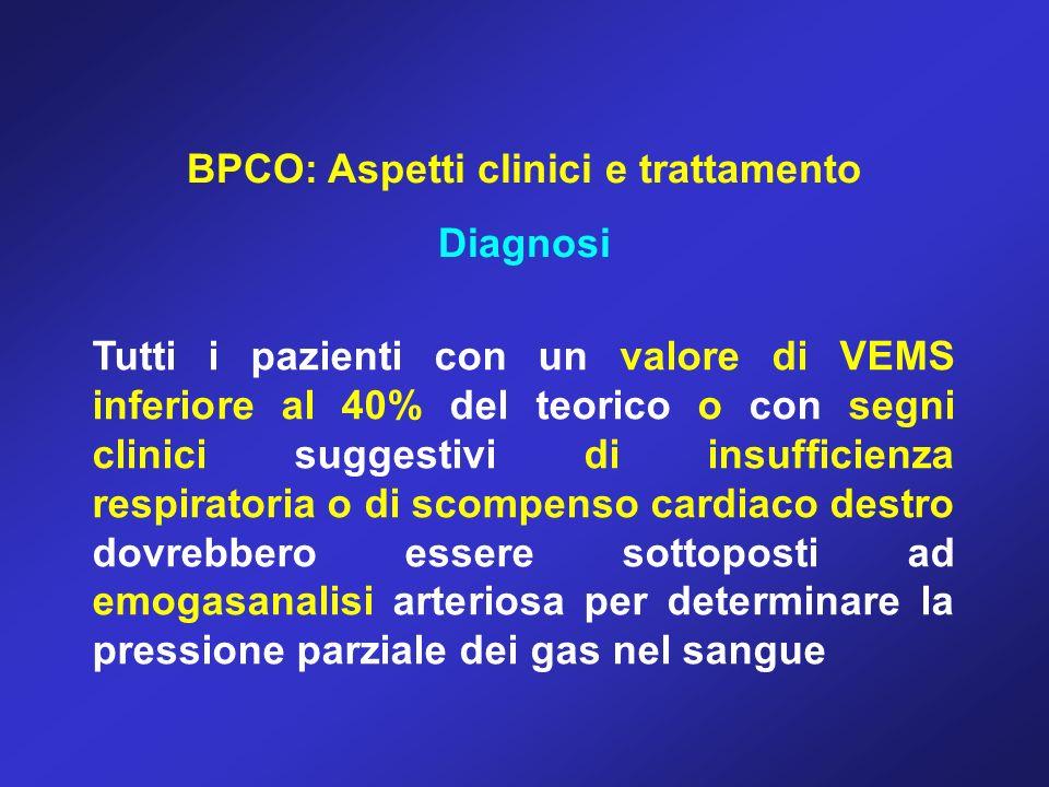 BPCO: Aspetti clinici e trattamento Diagnosi Tutti i pazienti con un valore di VEMS inferiore al 40% del teorico o con segni clinici suggestivi di ins