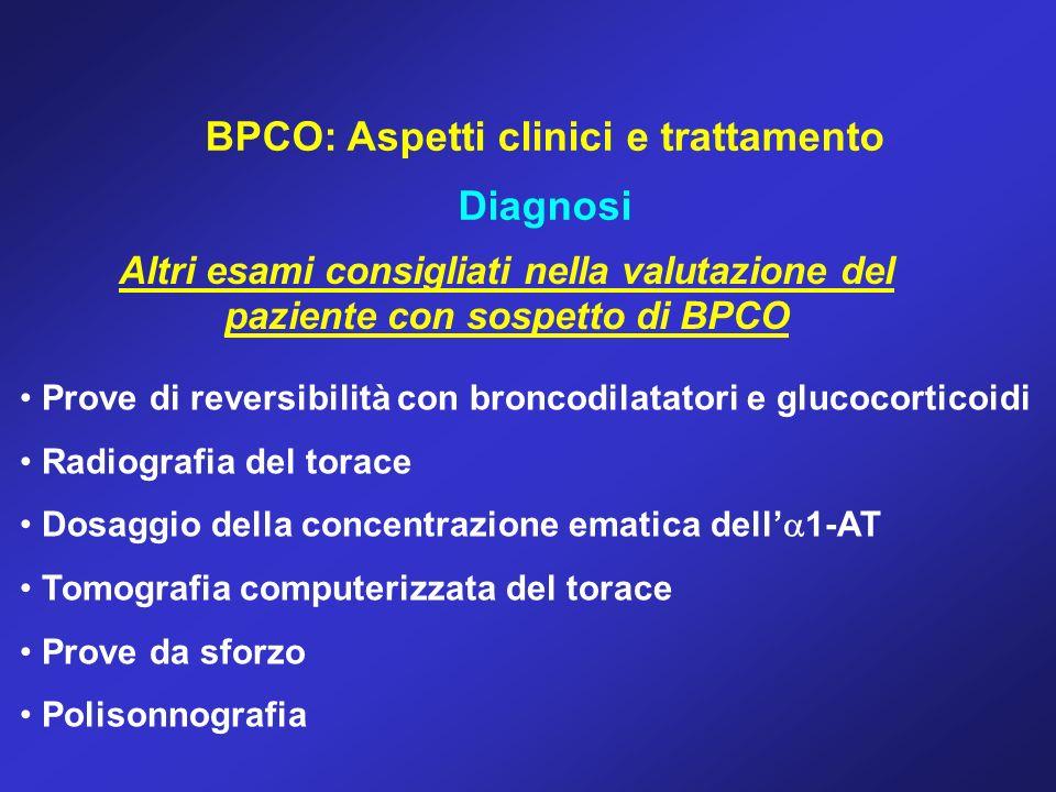 BPCO: Aspetti clinici e trattamento Diagnosi Altri esami consigliati nella valutazione del paziente con sospetto di BPCO Prove di reversibilità con br