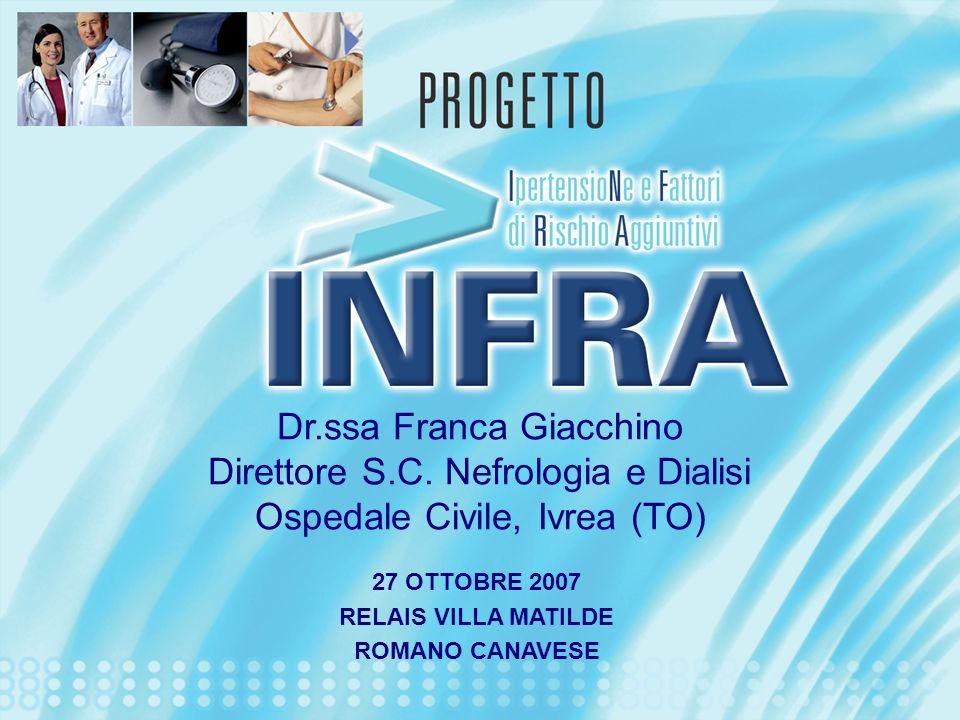 Dr.ssa Franca Giacchino Direttore S.C. Nefrologia e Dialisi Ospedale Civile, Ivrea (TO) 27 OTTOBRE 2007 RELAIS VILLA MATILDE ROMANO CANAVESE