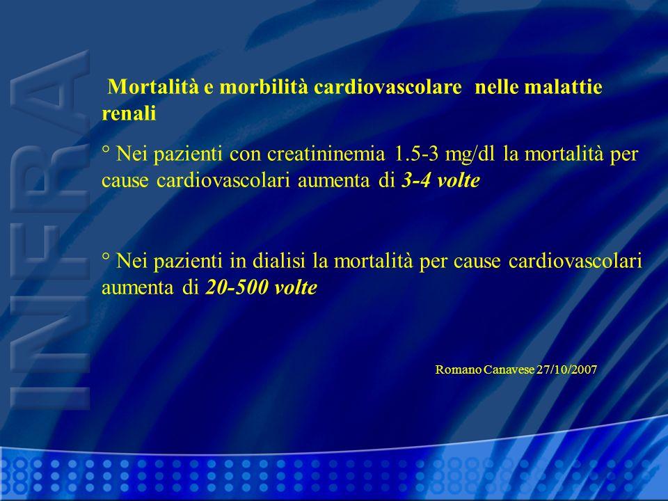 Mortalità e morbilità cardiovascolare nelle malattie renali ° Nei pazienti con creatininemia 1.5-3 mg/dl la mortalità per cause cardiovascolari aument