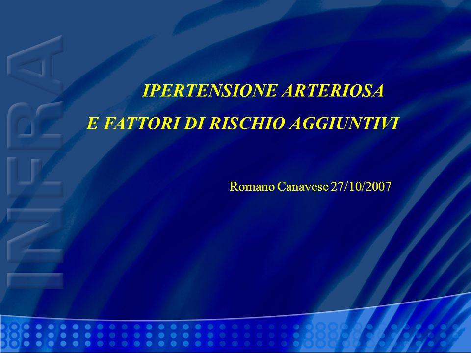 IPERTENSIONE ARTERIOSA E FATTORI DI RISCHIO AGGIUNTIVI Romano Canavese 27/10/2007