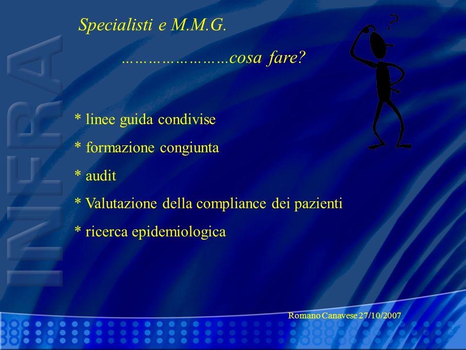 Specialisti e M.M.G. …………………… cosa fare? * linee guida condivise * formazione congiunta * audit * Valutazione della compliance dei pazienti * ricerca