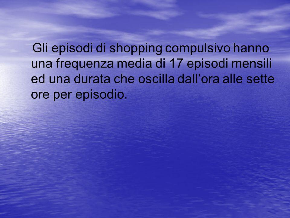 Gli episodi di shopping compulsivo hanno una frequenza media di 17 episodi mensili ed una durata che oscilla dallora alle sette ore per episodio.