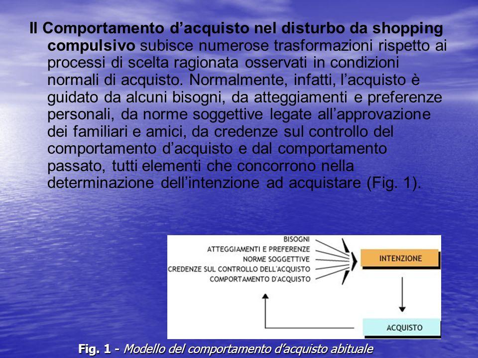 Il Comportamento dacquisto nel disturbo da shopping compulsivo subisce numerose trasformazioni rispetto ai processi di scelta ragionata osservati in c