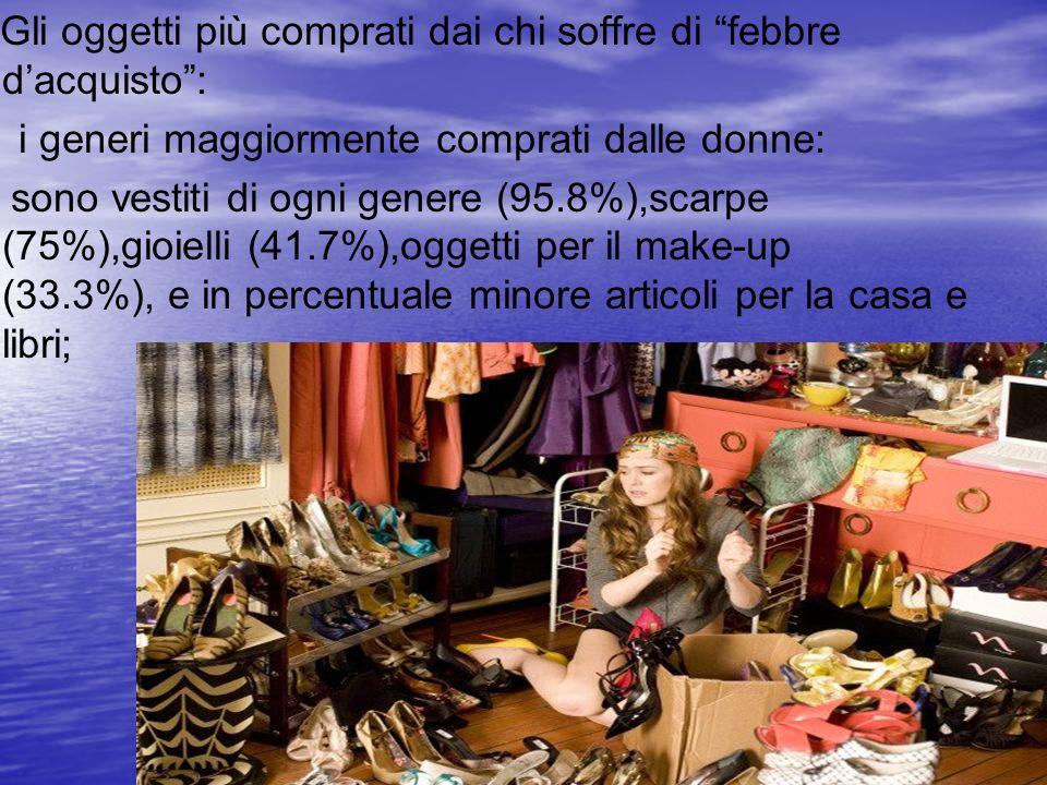 Gli oggetti più comprati dai chi soffre di febbre dacquisto: i generi maggiormente comprati dalle donne: sono vestiti di ogni genere (95.8%),scarpe (7