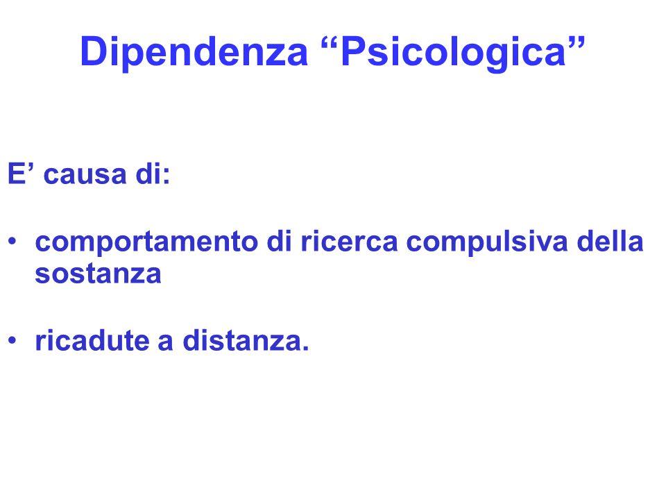 11 Dipendenza Psicologica E causa di: comportamento di ricerca compulsiva della sostanza ricadute a distanza.