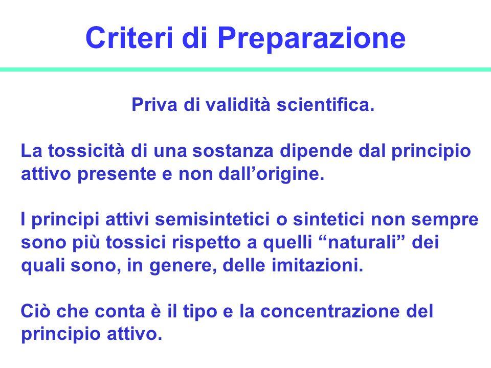 17 Criteri di Preparazione Priva di validità scientifica. La tossicità di una sostanza dipende dal principio attivo presente e non dallorigine. I prin