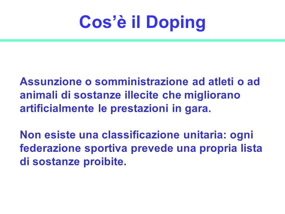 27 Cosè il Doping Assunzione o somministrazione ad atleti o ad animali di sostanze illecite che migliorano artificialmente le prestazioni in gara. Non