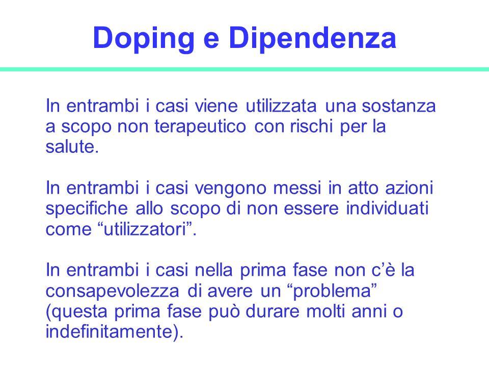 29 Doping e Dipendenza In entrambi i casi viene utilizzata una sostanza a scopo non terapeutico con rischi per la salute. In entrambi i casi vengono m