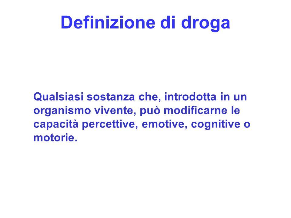 6 Definizione di droga Qualsiasi sostanza che, introdotta in un organismo vivente, può modificarne le capacità percettive, emotive, cognitive o motori
