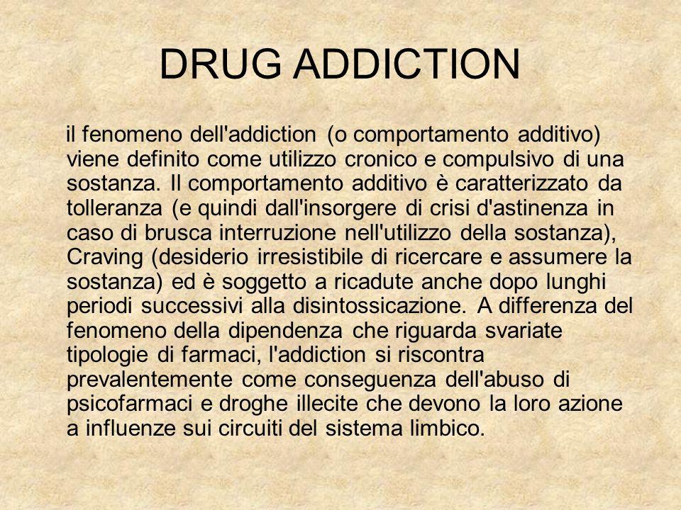 DRUG ADDICTION il fenomeno dell'addiction (o comportamento additivo) viene definito come utilizzo cronico e compulsivo di una sostanza. Il comportamen