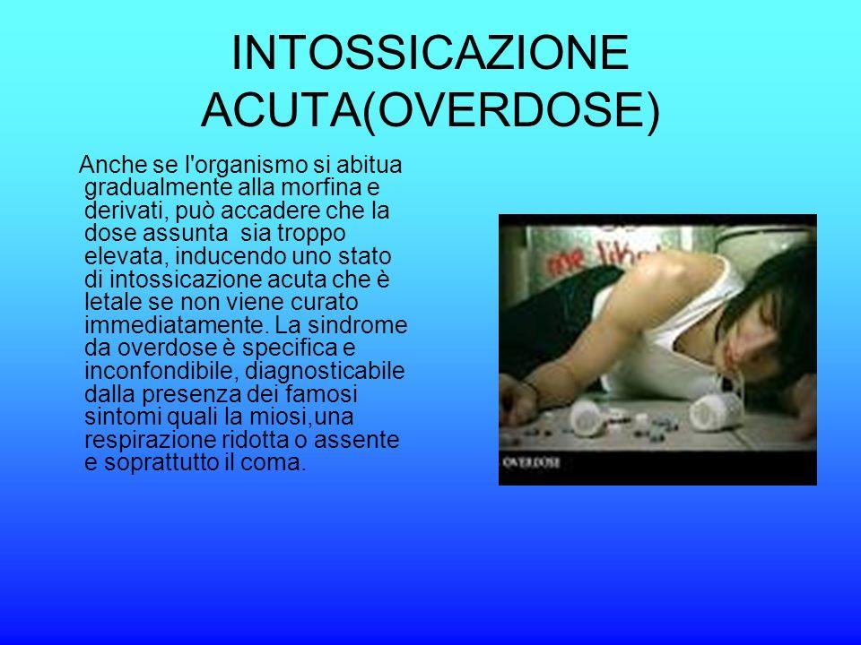 INTOSSICAZIONE ACUTA(OVERDOSE) Anche se l'organismo si abitua gradualmente alla morfina e derivati, può accadere che la dose assunta sia troppo elevat