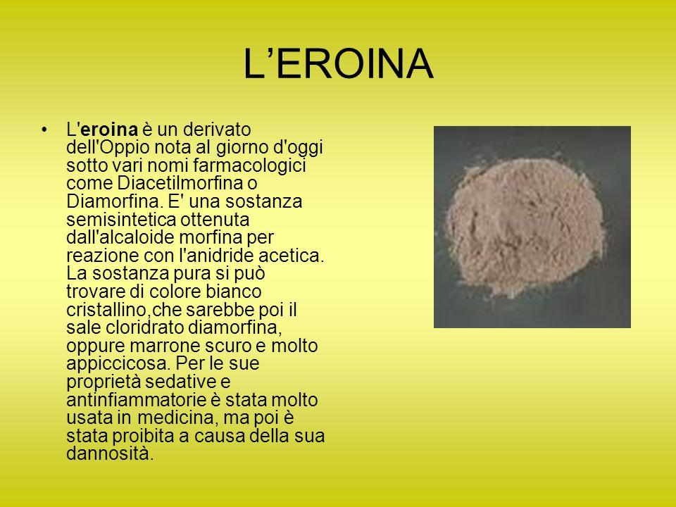 LEROINA L'eroina è un derivato dell'Oppio nota al giorno d'oggi sotto vari nomi farmacologici come Diacetilmorfina o Diamorfina. E' una sostanza semis