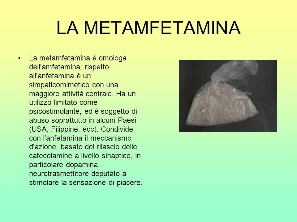 LA METAMFETAMINA La metamfetamina è omologa dell'amfetamina; rispetto all'anfetamina è un simpaticomimetico con una maggiore attività centrale. Ha un