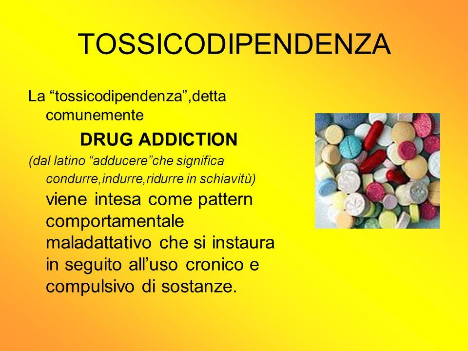 TOSSICODIPENDENZA La tossicodipendenza,detta comunemente DRUG ADDICTION (dal latino adducereche significa condurre,indurre,ridurre in schiavitù) viene