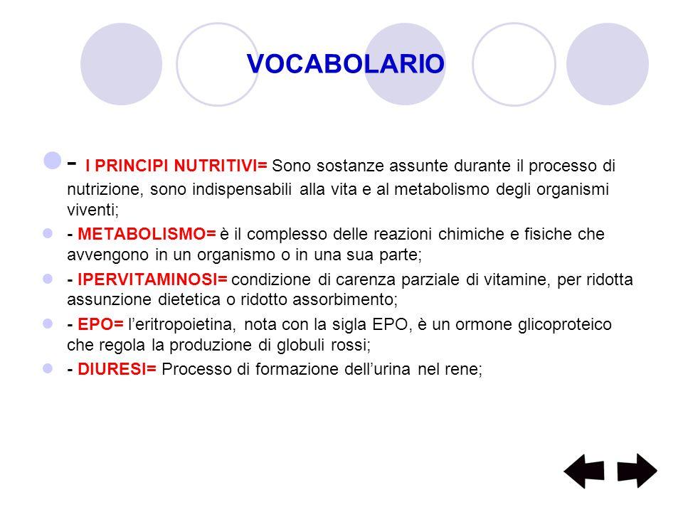 VOCABOLARIO - I PRINCIPI NUTRITIVI= Sono sostanze assunte durante il processo di nutrizione, sono indispensabili alla vita e al metabolismo degli orga