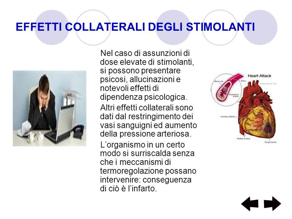 EFFETTI COLLATERALI DEGLI STIMOLANTI Nel caso di assunzioni di dose elevate di stimolanti, si possono presentare psicosi, allucinazioni e notevoli eff