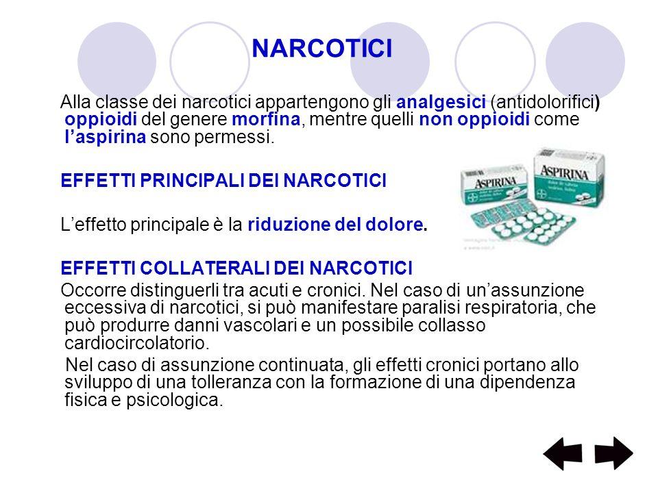 NARCOTICI Alla classe dei narcotici appartengono gli analgesici (antidolorifici) oppioidi del genere morfina, mentre quelli non oppioidi come laspirin