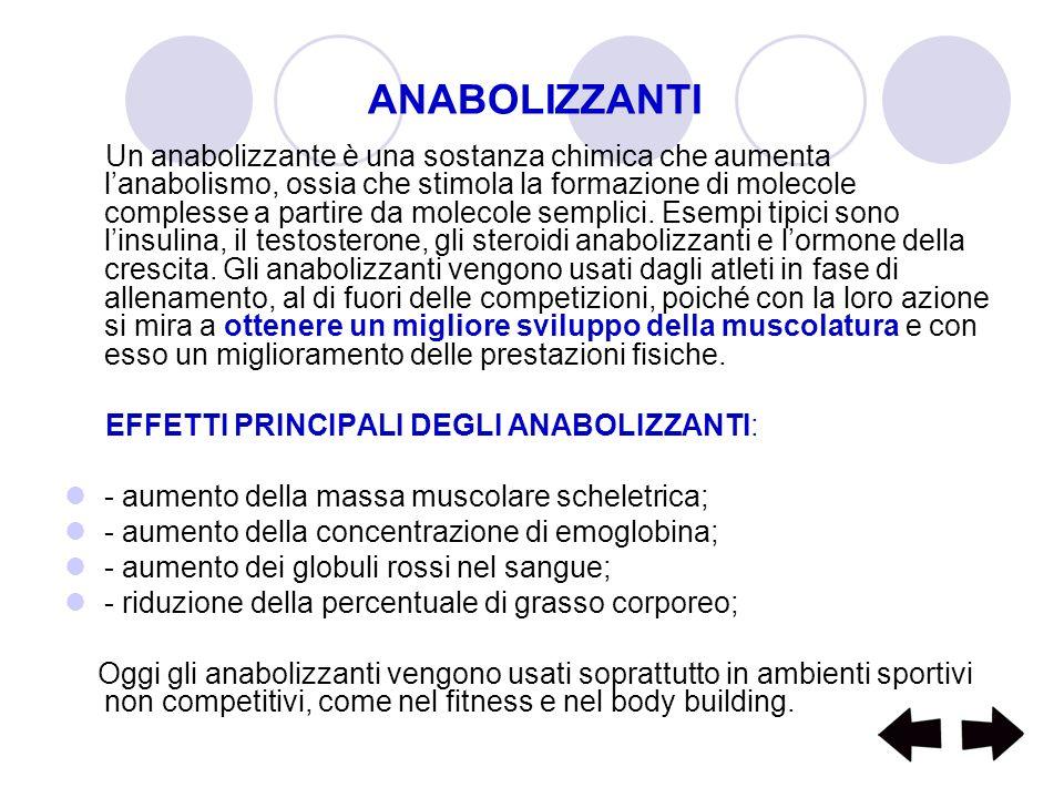 ANABOLIZZANTI Un anabolizzante è una sostanza chimica che aumenta lanabolismo, ossia che stimola la formazione di molecole complesse a partire da mole