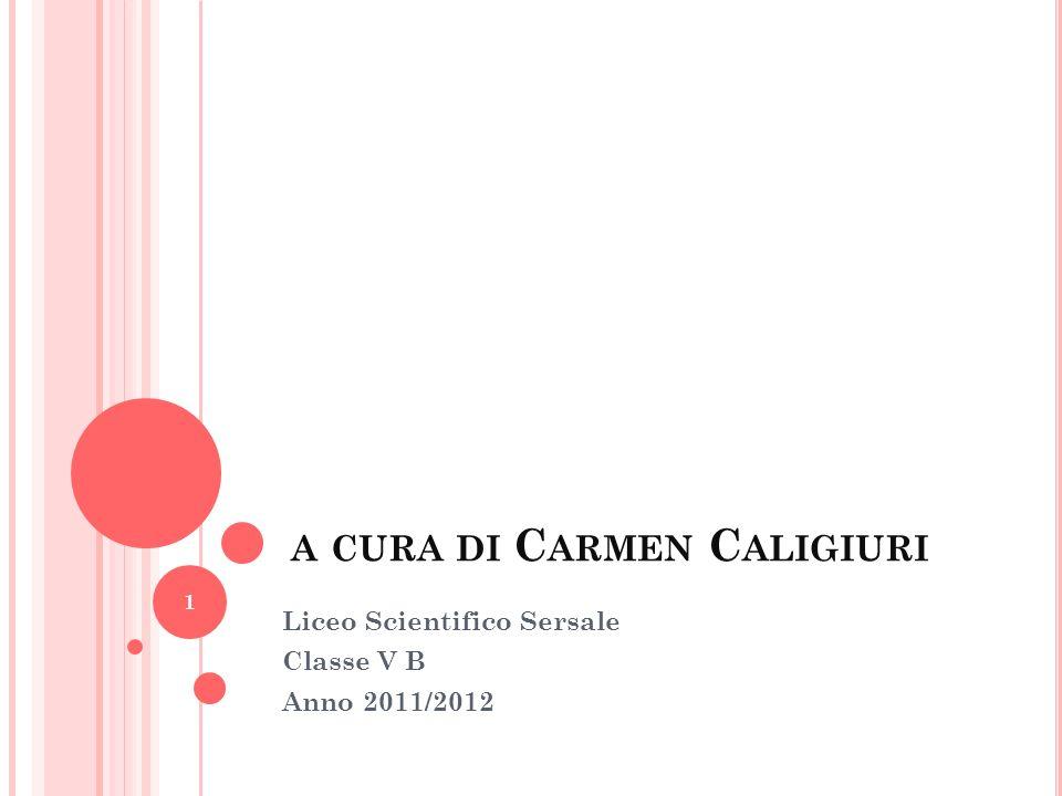 A CURA DI C ARMEN C ALIGIURI Liceo Scientifico Sersale Classe V B Anno 2011/2012 1